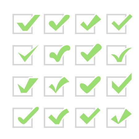 confirm confirmation: Set of different  check marks or ticks in boxes. Confirmation acceptance positive passed voting agreement true or completion of tasks on a list. Green and grey colors.