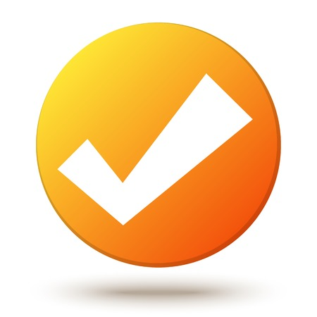 internet mark: Orange  circle shape internet button with check mark or tick and shadow isolated on white background. Confirmation acceptance positive passed voting agreement true. Web design element Stock Photo