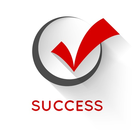 check in: Red  check mark or tick in black round box with shadow on white background. Flat design style icon. Concept of success, proper selection, right choices, task completion, approval and confirmation.
