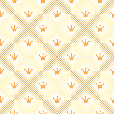 yellow crown: Simple seamless  pattern with crown. Orange and yellow colors.