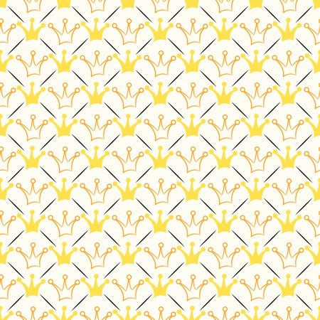 Simple seamless  pattern with crown and line. Orange, white, black and yellow colors.