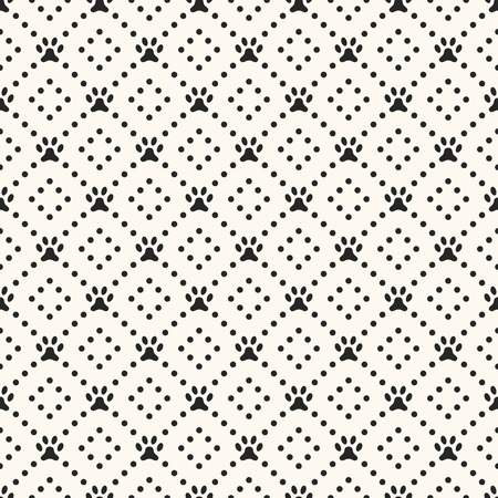 animal pattern: Seamless animal pattern of paw footprint and dot. Endless texture can be used for printing onto fabric, web page background and paper or invitation. Dog style. White and black colors. Stock Photo