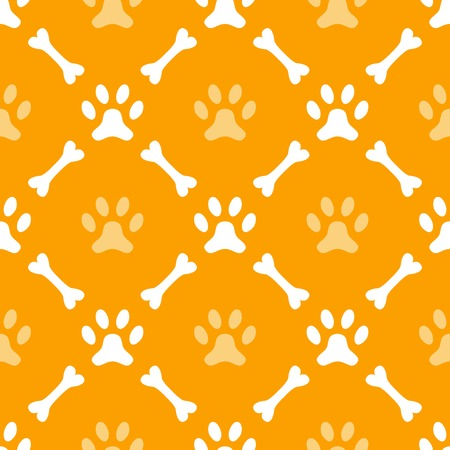 dog track: Animal seamless  pattern of paw footprint and bone. Endless texture can be used for printing onto fabric, web page background and paper or invitation. Dog style. White and orange colors. Stock Photo