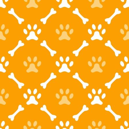 huellas de perro: Modelo incons�til del animal de la huella de la pata y el hueso. Textura sin fin se puede utilizar para la impresi�n sobre la tela, fondo de p�ginas web y papel o invitaci�n. Estilo perro. Blanco y colores anaranjados.