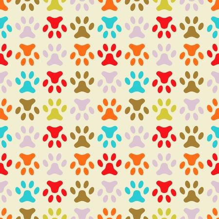 huellas de perro: Modelo inconsútil animal de la huella de la pata. Textura fin se puede utilizar para imprimir sobre tela, de fondo página web y papel o invitación. estilo perro polka. colores retro.