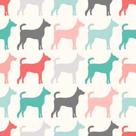 doggy: Animal seamless  pattern of dog silhouettes. Endless texture can be used for printing onto fabric, web page background and paper or invitation. Doggy style. Retro colors.