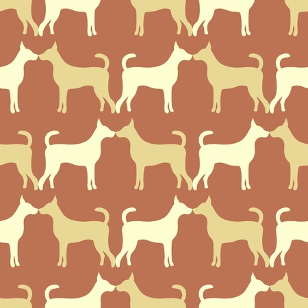 doggy: Animal seamless  pattern of dog silhouettes. Endless texture can be used for printing onto fabric, web page background and paper or invitation. Doggy style. Brown and yellow colors.