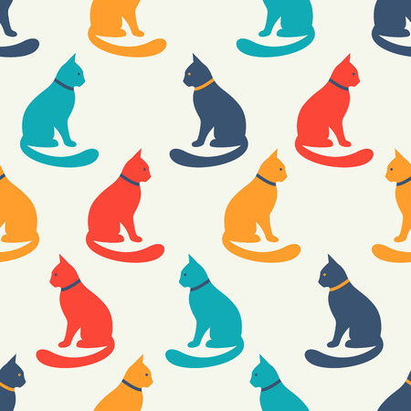 cat silhouette: Animal seamless vector pattern of cat silhouettes. Endless texture for printing onto fabric, web page background and paper or invitation. Kitten style. Shabby colorful illustration.