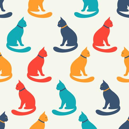 gato dibujo: Modelo animal inconsútil del vector de siluetas del gato. Textura sin fin para imprimir sobre tela, fondo de páginas web y papel o invitación. Estilo gatito. Colorida ilustración lamentable. Vectores