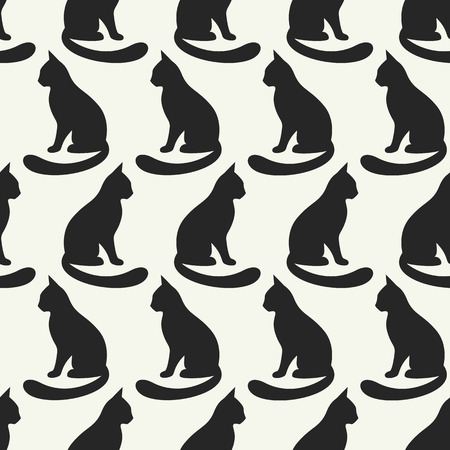 black fabric: Animal seamless vector pattern of cat silhouettes. Endless texture can be used for printing onto fabric, web page background and paper or invitation. Kitten style. Black and white colors.