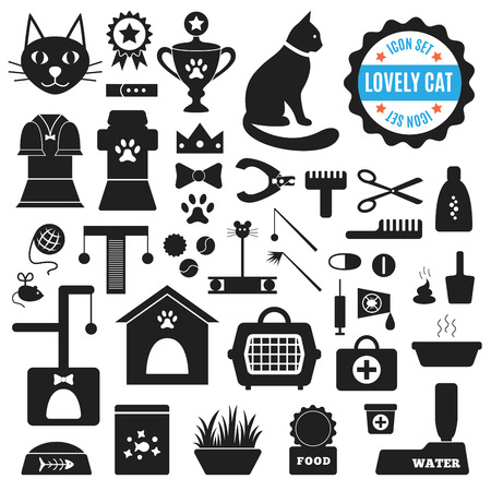 group of pets: Great set of icons about Lovely Cat. Vector illustration for pet design.  Food, house, mowing, cleaning, toys, clothing, treatment, exhibitions, toilet. Everything about life of cats.  Collection of black silhouettes isolated on white background.
