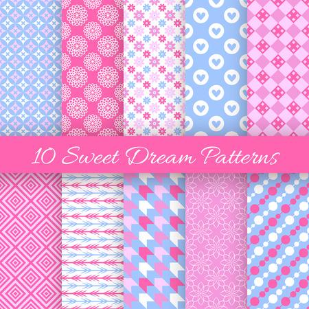 10 甘い夢のシームレスなパターン。ファッション ・ デザインのベクトル図です。ピンク、白、青の色。無限のテクスチャは、ファブリックに印刷や  イラスト・ベクター素材