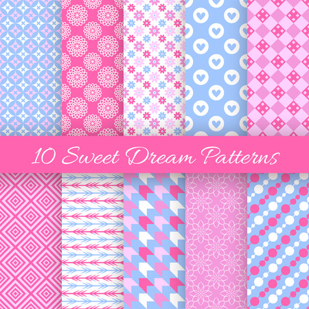 pretty: 10 Sweet dream seamless patterns. Vector illustration for fashion design. Pink, white and blue color. Endless texture can be used for printing onto fabric and paper or scrap booking. Pretty cute wallpaper. Illustration