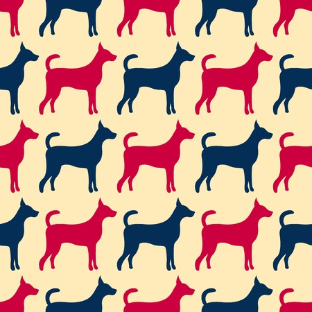 doggy: Animal seamless  pattern of dog silhouettes. Endless texture can be used for printing onto fabric, web page background and paper or invitation. Doggy style. Red, blue and yellow colors. Stock Photo