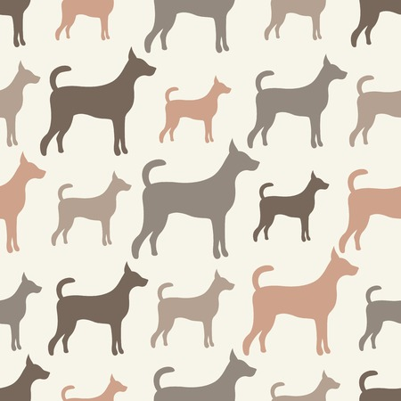 doggy: Animal seamless  pattern of dog silhouettes. Endless texture can be used for printing onto fabric, web page background and paper or invitation. Doggy style. White, grey and brown colors.