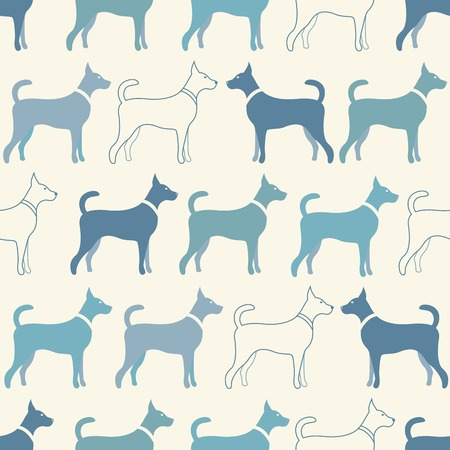 dog: Cute doodle seamless  pattern of dog silhouettes. Endless texture can be used for printing onto fabric, web page background and paper or invitation. Doggy style. White and blue colors.
