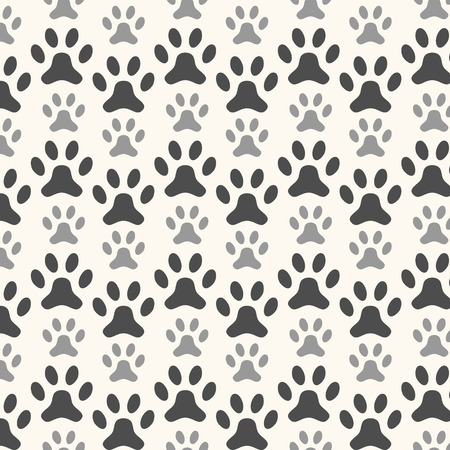 silueta tigre: Seamless animal pattern of paw footprint. Endless texture can be used for printing onto fabric, web page background and paper or invitation. Polka dog style. White and black colors. Foto de archivo