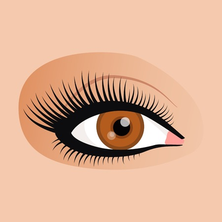 eyes closeup: Open emale eyes image with beautifully fashion make up.  illustration for health glamour design. Brown colors. Elegant woman eyes.