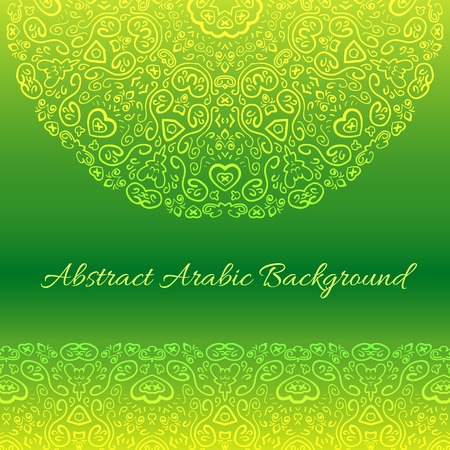 oriental rug: Abstract arabic background.  illustration for your cute floral design. Green and yellow colors. Border and frame. Oriental rug napkin.