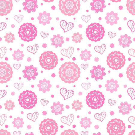pink rose: Romantic seamless pattern.  illustration for feminine design. Pink and white colors. Endless texture for printing onto fabric, paper or scrap booking. Heart and abstract flower shapes.