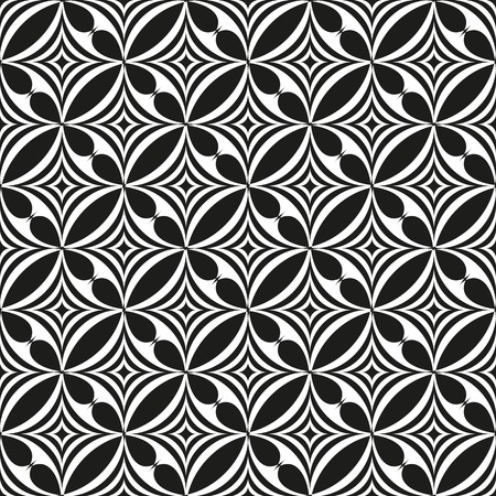 geometrical: Black and white abstract seamless pattern.  illustration for modern background. Line, star and wave shapes.