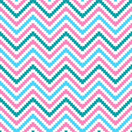 stepped: Cute tribal zig zag seamless pattern.  illustration for beauty fashion design. Chevron stripes with  stepped edges. Blue, pink and white colors. Stock Photo