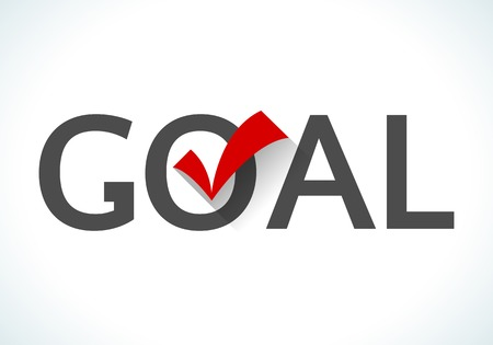 execute: Business goal concept. Goal icon with red check mark on white background. Design ideas achieve execute goals and objectives. Stock Photo