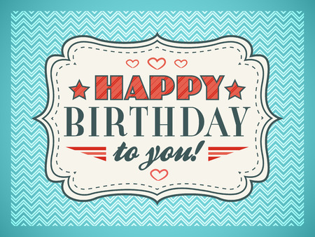 Birthday: Happy birthday card. Lettere tipografia tipo di font. Modificabile per felice invito festa di compleanno. Regalo ritagliato carta bianca su sfondo vintage blu. illustrazione per la progettazione vacanza divertente. Archivio Fotografico