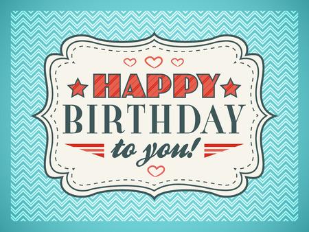urodziny: Szczęśliwy kartka urodzinowa. Litery typografia napisu. Edytowalne na happy urodziny zaproszenie. Prezent wyciąć biały papier na vintage niebieskim tle. ilustracja do zabawnej projektowania wakacyjnym. Zdjęcie Seryjne
