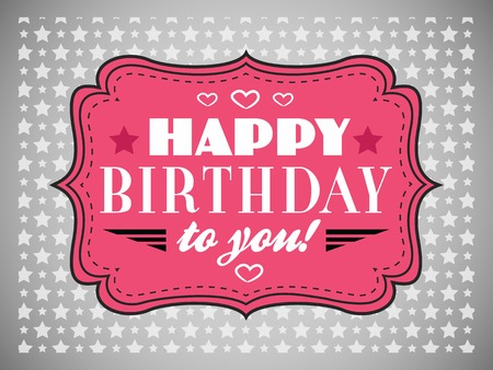 retro type: Happy birthday card. Typography letters font type. Vintage pink frame on grey background.  illustration for your retro holiday design. Stock Photo