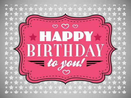 marco cumpleaños: Tarjeta del feliz cumpleaños. letras de tipografía fuente Type. Marco de época de color rosa sobre fondo gris. ilustración para su diseño retro vacaciones. Foto de archivo