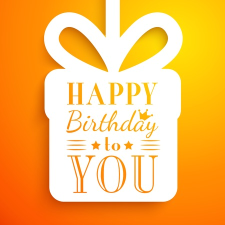 bday party: Happy birthday card. Typography letters font type. Editable for happy birthday party invitation. Gift cut out white paper on orange background.  illustration for your funny holiday design.