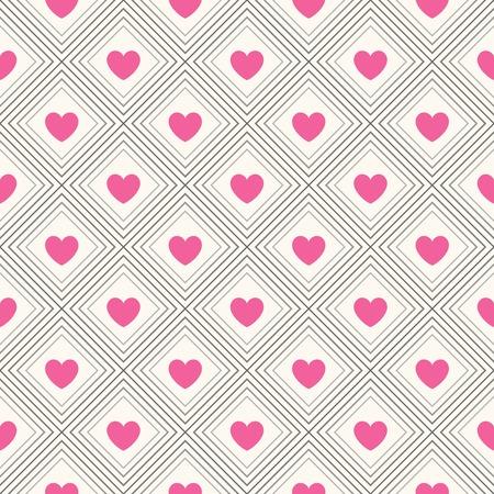 saint valentin coeur: Motif g�om�trique Seamless avec des coeurs. illustration pour la conception romantique. Texture sans fin pour l'impression sur tissu, web fond de page et de papier ou une invitation. Blanc, rose et noir. Banque d'images