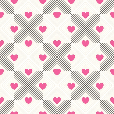 Seamless geometric pattern with hearts.  illustration for romantic design. Endless texture for printing onto fabric, web page background and paper or invitation. White, pink and black colors.