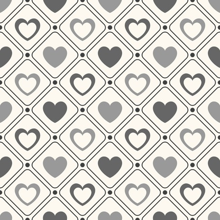 white heart: Seamless geometric pattern with hearts.  illustration for romantic design. Endless texture for printing onto fabric, web page background and paper or invitation. White and black colors. Stock Photo