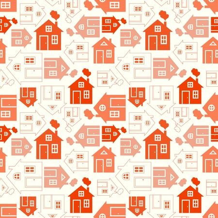 family outside house: Home sweet home house silhouette and outline seamless pattern with window, door and smoke.  illustration for abstract geometric city design. Endless print background texture. Retro and vintage.