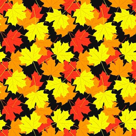 amarillo y negro: Patrón transparente de las hojas de arce. Ilustración del diseño del otoño. Colores rojos, anaranjados, amarillos y negros. Foto de archivo