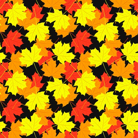black yellow: Seamless pattern of maple leaves.  illustration of autumn design. Red, orange, yellow and black colors. Stock Photo