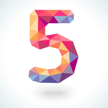 Number five in modern polygonal crystal style.  illustration colorful bright design. Formed by triangles. For party poster, greeting card, banner or invitation. Cute numerical icon and sign. Imagens - 44348427
