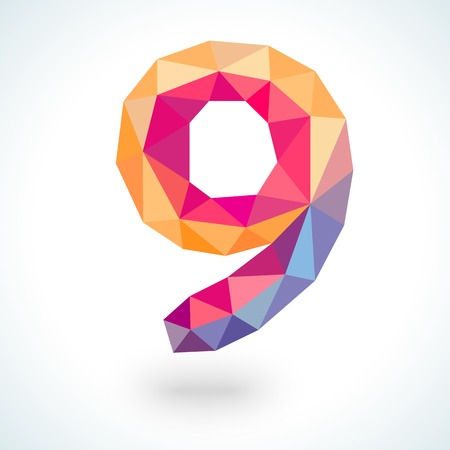 numerical: Number nine in modern polygonal crystal style.  illustration colorful bright design. Formed by triangles. For party poster, greeting card, banner or invitation. Cute numerical icon and sign.