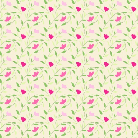 green cute: Cute style seamless background floral pattern. For easy making pattern use it for filling any contours.  illustration for fashion design. Pink, green and white colors. Stock Photo