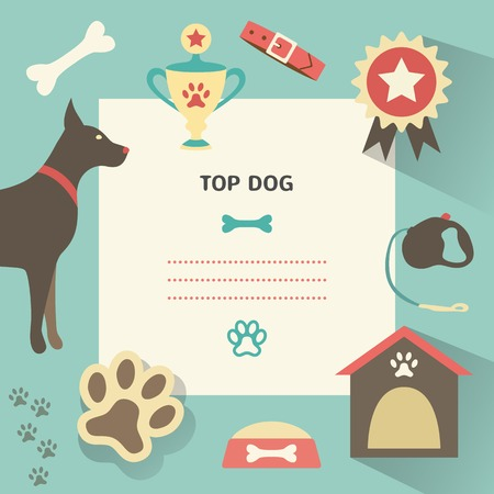 dog kennel: Retro dog template with profile canine full, collar, kennel, cup, medal, award, bowl of food, leash, bone, footprint.  illustration for web, mobile application design. Pet animal silhouette.