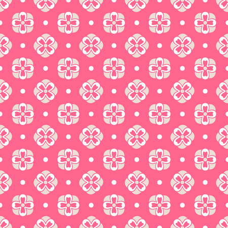 fond: Light summer  seamless pattern. Fond pink, white and yellow colors. Endless texture can be used for printing onto fabric and paper or invitation. Flower and dot shapes.
