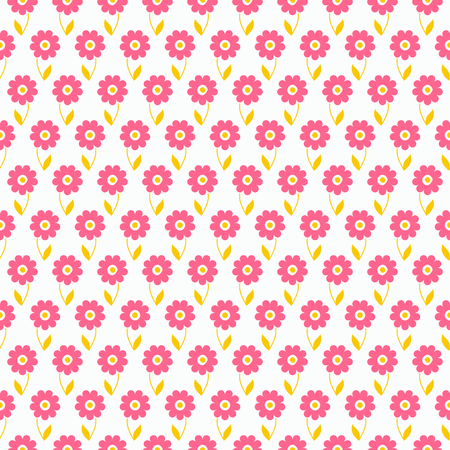 children birthday: Light summer  seamless pattern. Fond pink, white and yellow colors. Endless texture can be used for printing onto fabric and paper or invitation. Flower and dot shapes.