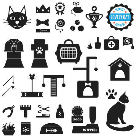 animal silhouette: Great set of icons about Lovely Cat. Vector illustration for pet design.  Food, house, mowing, cleaning, toys, clothing, treatment, exhibitions, toilet. Everything about life of cats.