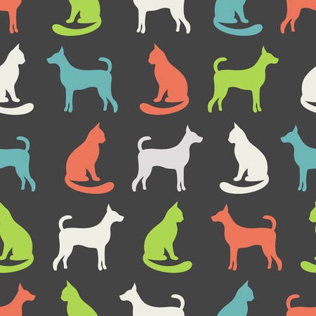 shelter: Animal seamless vector pattern of cat and dog silhouettes. Endless texture can be used for printing onto fabric, web page background and paper or invitation. Kitten style. White and orange colors.