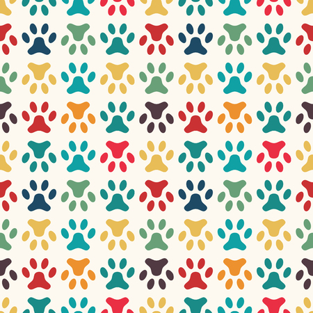 pet cat: Animal seamless vector pattern of paw footprint. Endless texture can be used for printing onto fabric, web page background and paper or invitation. Dog style. Bright colors.