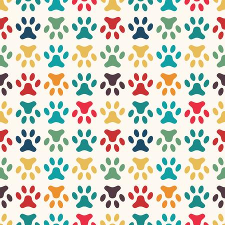 huellas de perro: Modelo animal incons�til del vector de la huella de la pata. Textura sin fin se puede utilizar para la impresi�n sobre la tela, fondo de p�ginas web y papel o invitaci�n. Estilo perro. Colores brillantes.