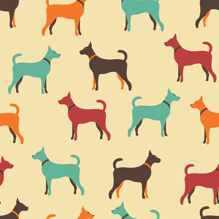 crowd tail: Animal seamless vector pattern of dog silhouettes. Endless texture can be used for printing onto fabric, web page background and paper or invitation. Doggy style. Retro colors. Illustration