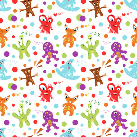 spook: Funny colorful childrens seamless pattern. Vector illustration for kid design. Bright colors. Endless texture can be used for printing onto fabric, web page background and paper or invitation.